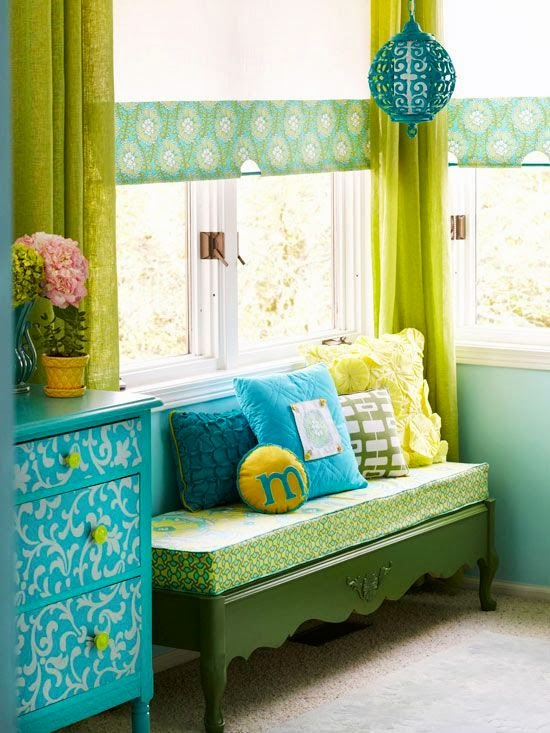 colorful relaxing place with green bench
