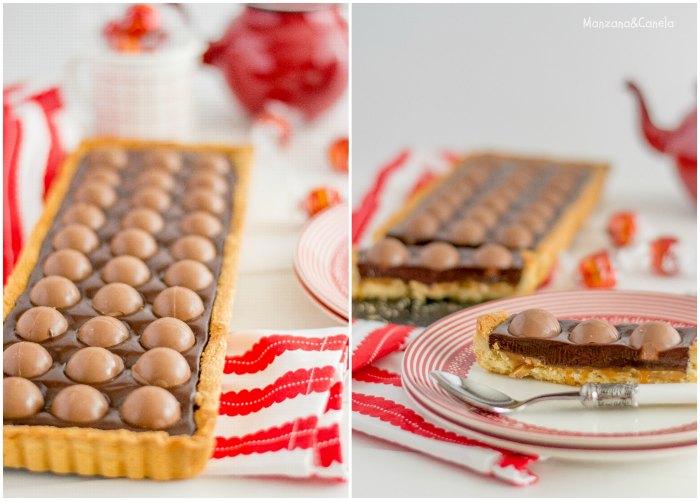 Tarta de chocolate, bombones y caramelo salado