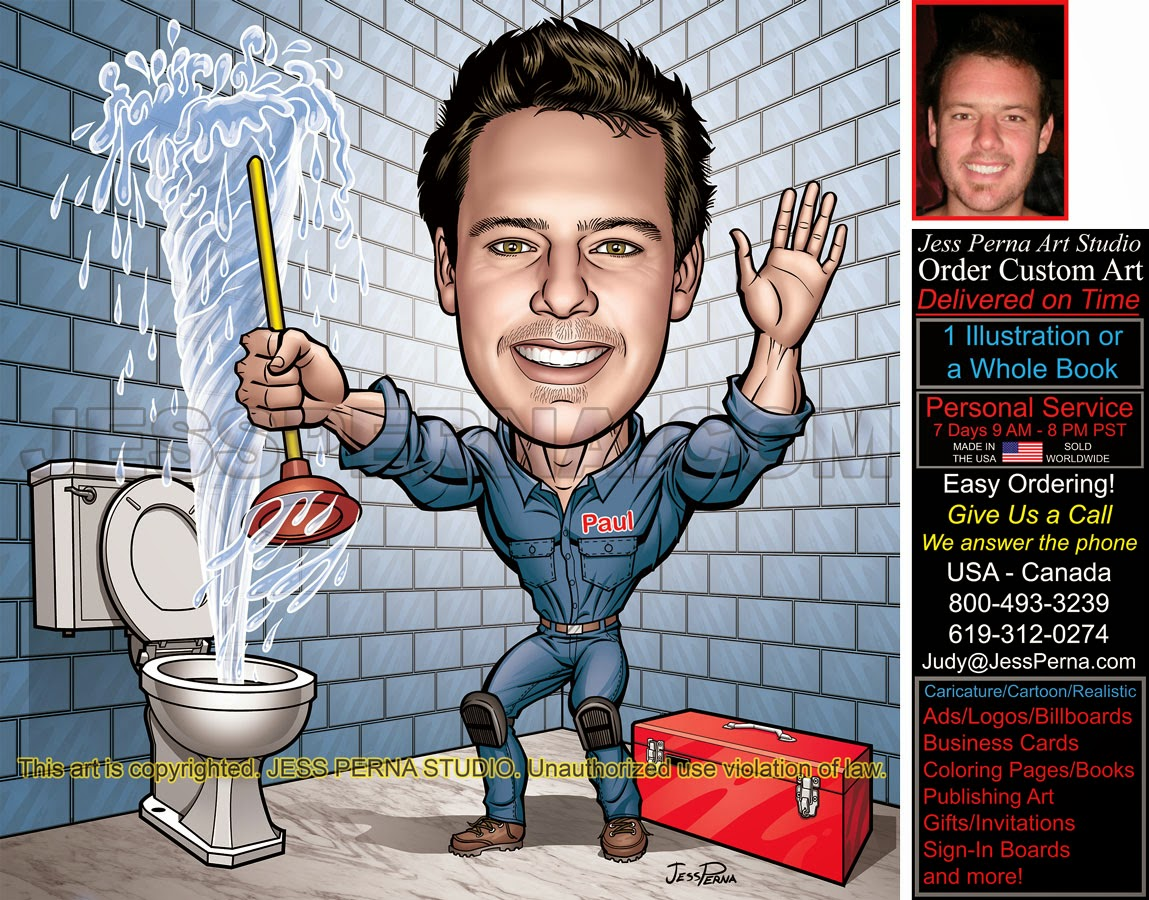 plumber truck wrap and business card caricature how to order