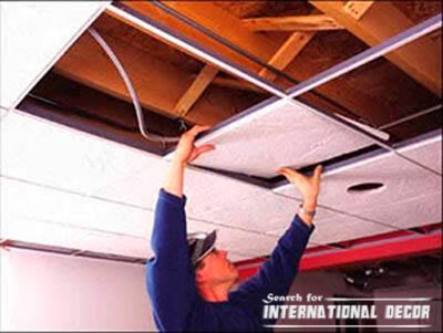 Suspended ceiling installation with his hands