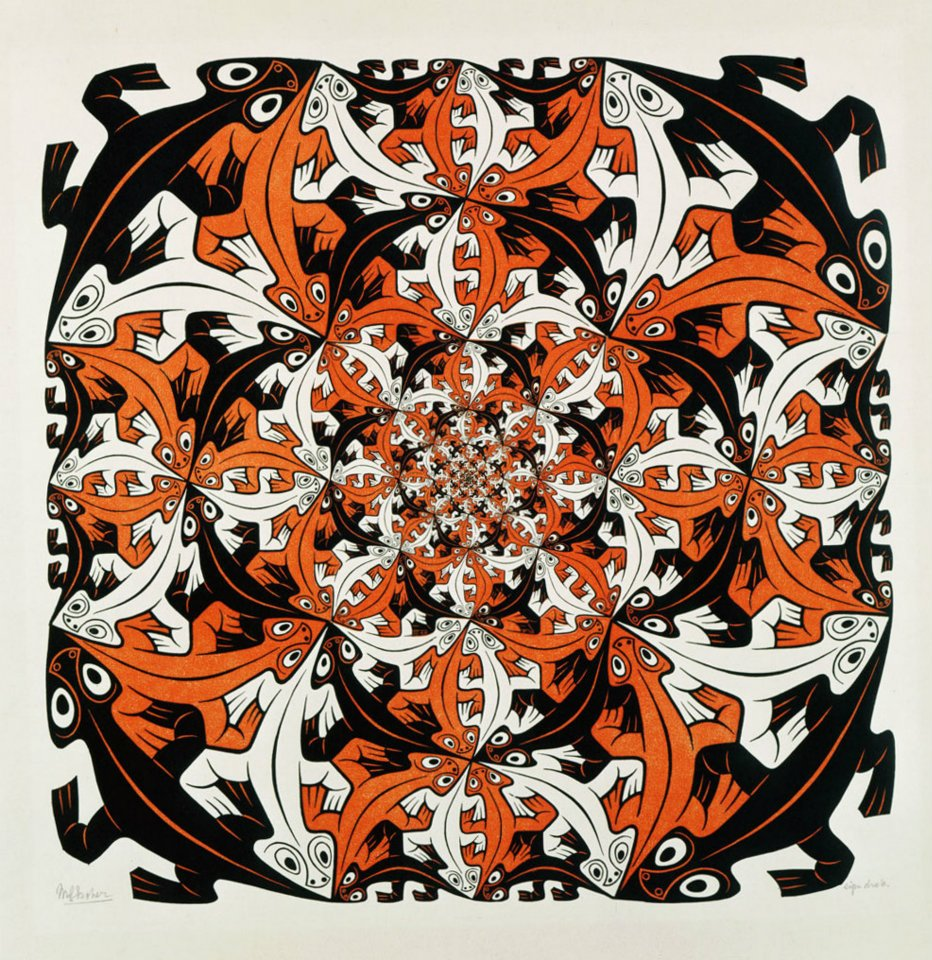 M.C. Escher - Smaller and smaller - October 1956 - Wood engraving and woodcut in black and brown, printed from four blocks