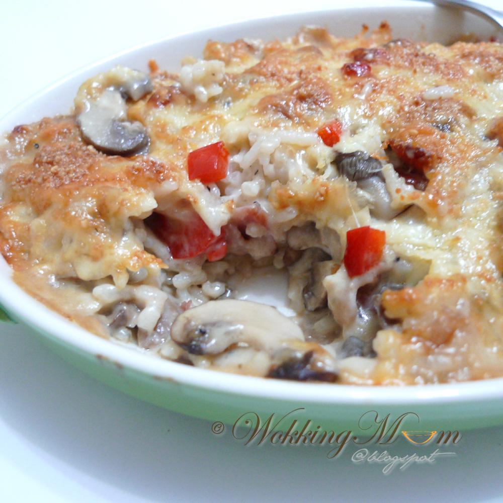 Let's get Wokking!: Cheesy Mushroom Baked Rice 芝士蘑菇烤饭 ...
