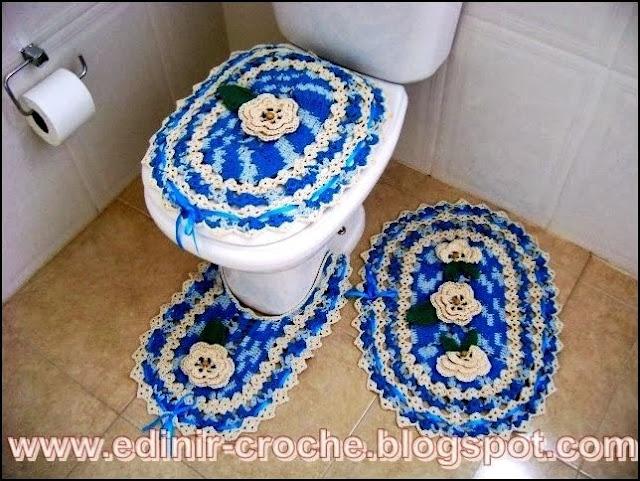 jogos de tapetes com flores em croche com Edinir-Croche
