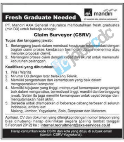 PT Mandiri AXA General Insurance - Claim Surveyor (Fresh Graduate