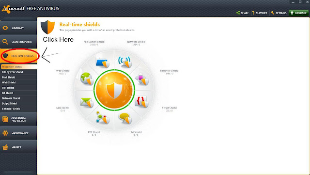 Real Time Shield Window on Avast Antivirus Application