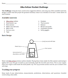 Alka-Seltzer Rocket Challenge: Student Lab from STEM Mom