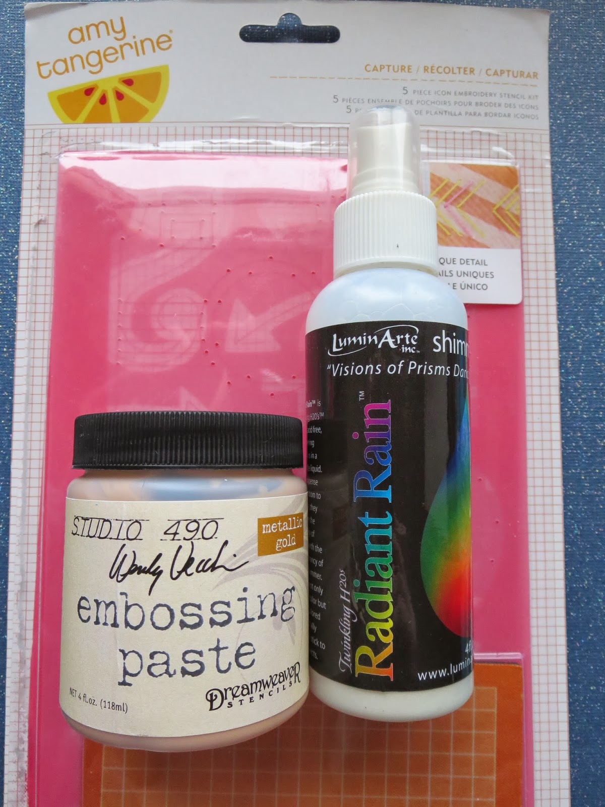 fresh crafts blog - embossing paste, Radiant Rain, Amy Tangerine embroidery kit