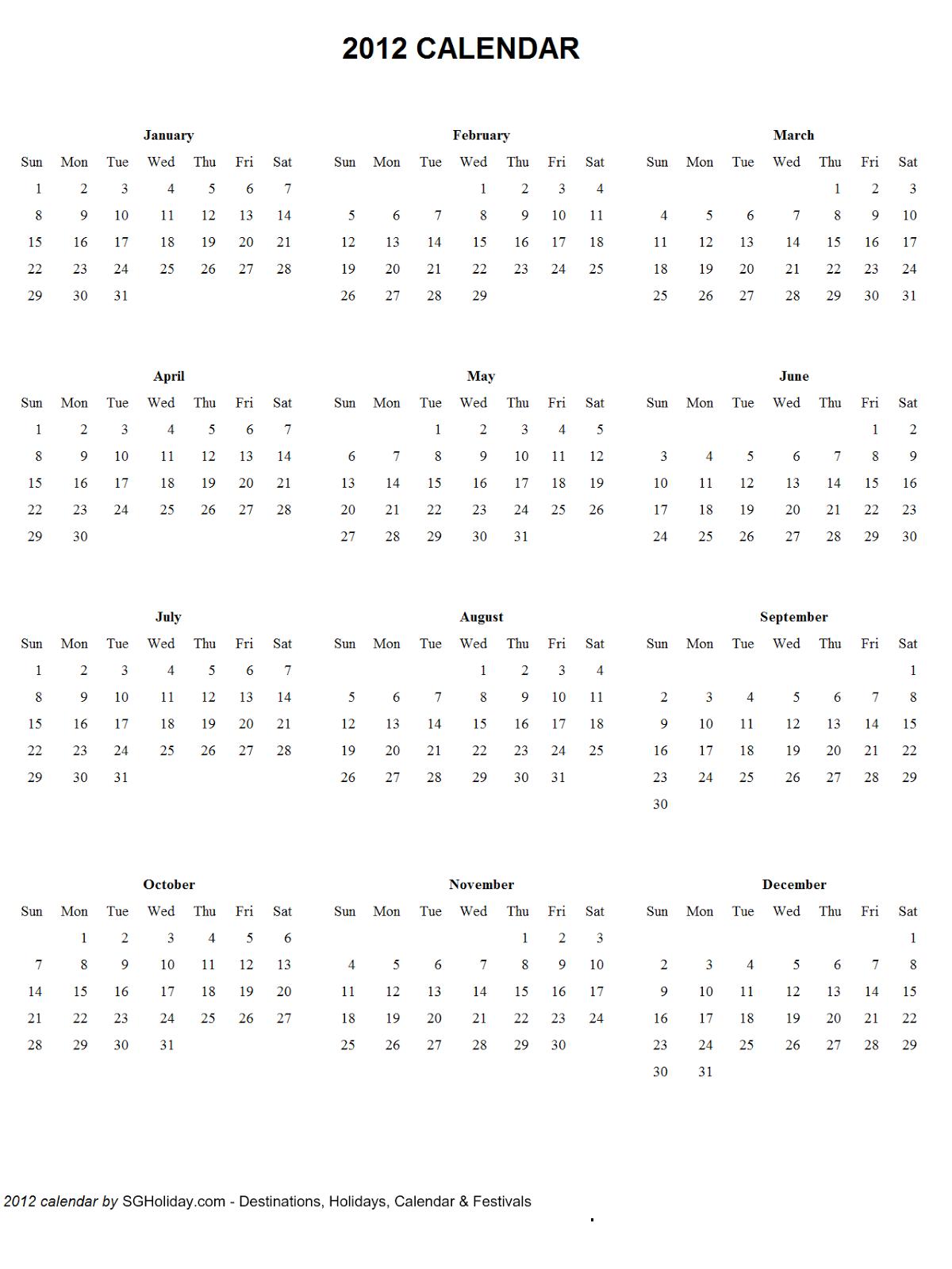 Free Printable Calendars 2011 2012