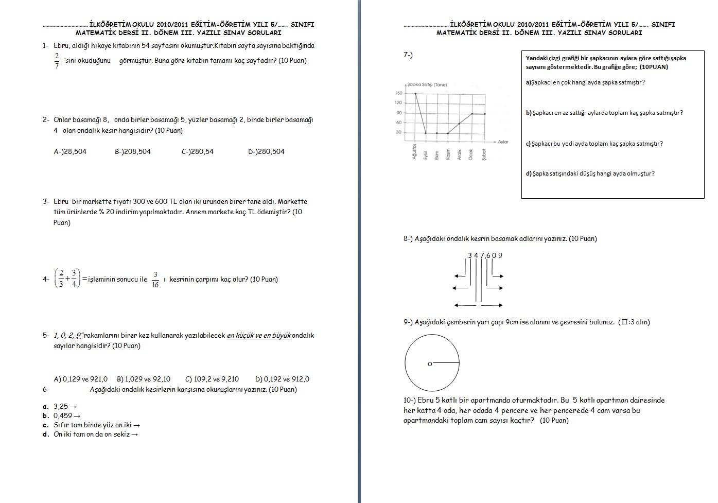 Sinif matematik 2 dönem 3 yazili sorulari