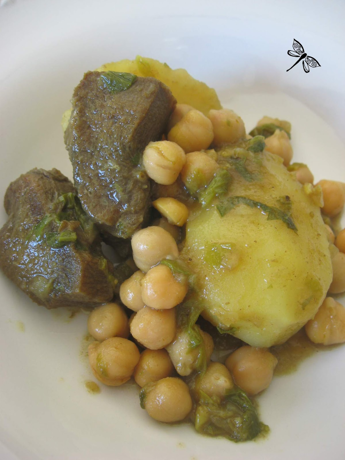 Libellule et ses spatules langue de boeuf aux pois chiches et pommes de terre - Cuisiner une langue de boeuf ...