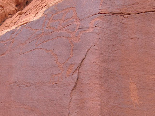 Hidden Valley petroglyphs - note the human figure in the lower right