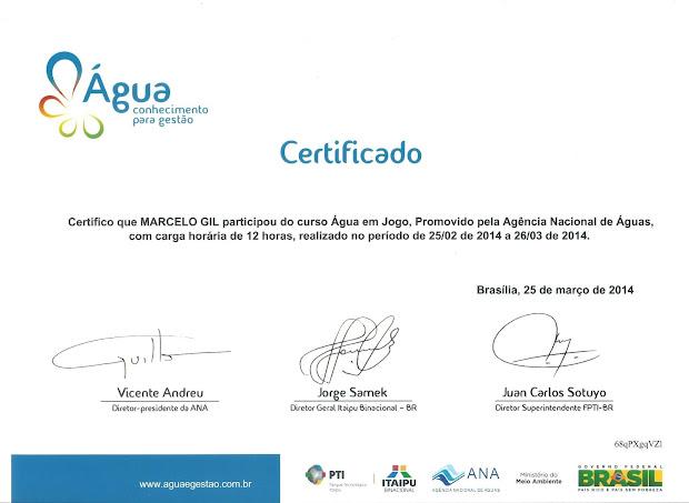 CERTIFICADO DA AGÊNCIA NACIONAL DE ÁGUAS - 2014