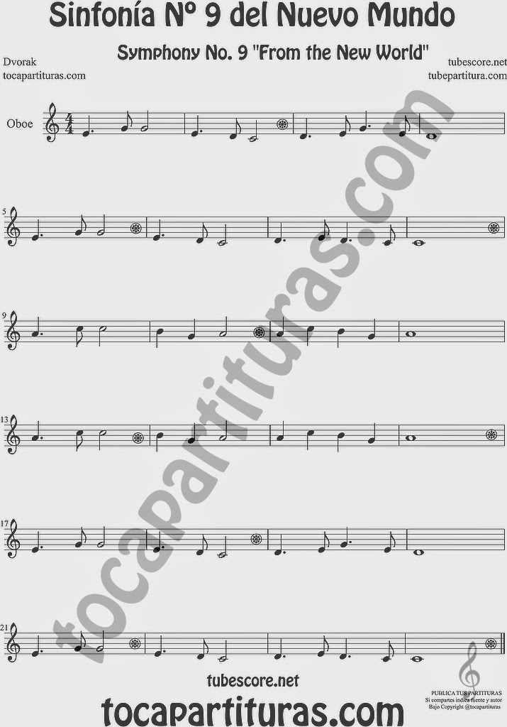 Sinfonía del Nuevo Mundo Partitura de Oboe Sheet Music for Oboe 9º Simphony From the New World Music Score