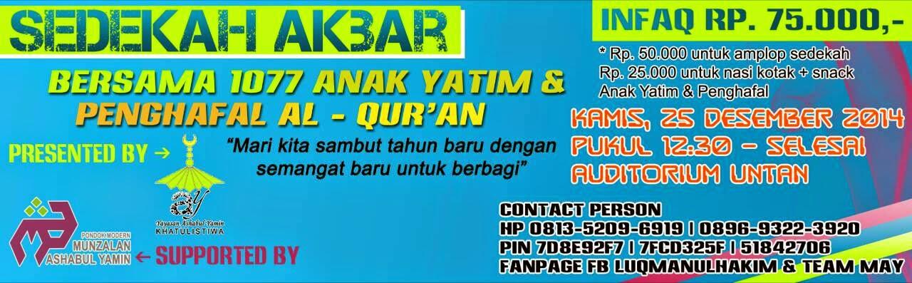 Voucher Sedekah Akbar bersama 1077 Anak Yatim dan Penghafal Al-Qur'an