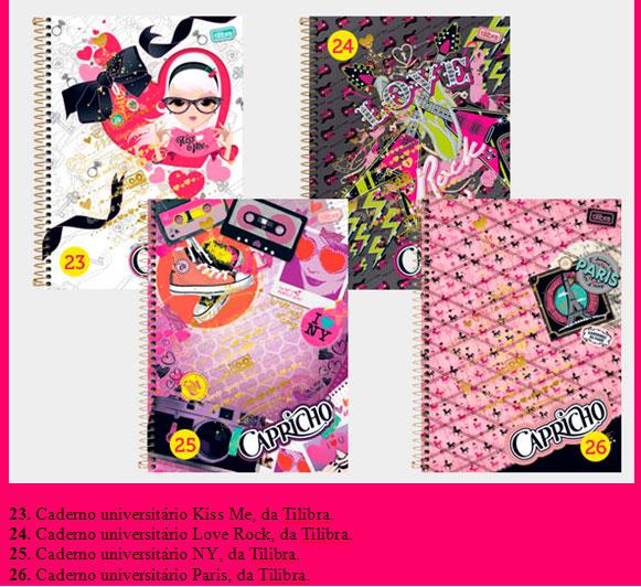 cadernos capricho Coleção Capricho 2013   Mochilas, Bolsas e  Cadernos