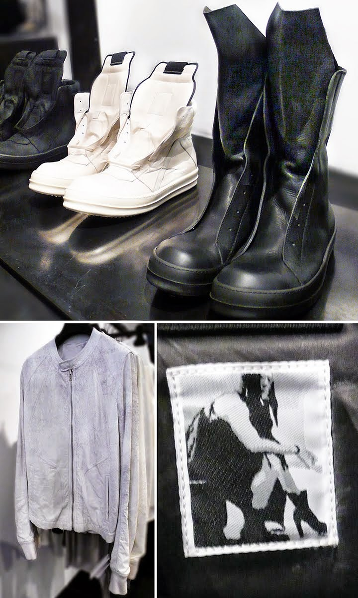 Rick Owens runway sneakers and Black Calf High boots, shoe Label and Bomber jacket.