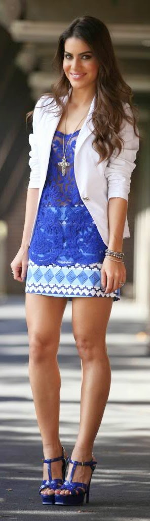 Chic White Blazer with Blue Lace Top and Printed High Waist Skirt | Street Styles