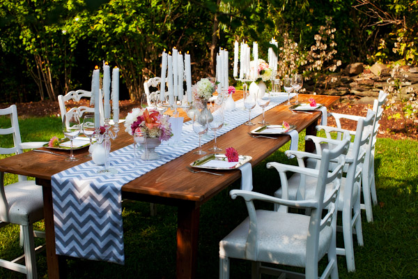 gray white chevron table runner