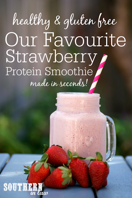 Favourite Strawberry Protein Smoothie Recipe - high protein, low carb, gluten free, grain free, paleo, high protein, refined sugar free, healthy strawberry milkshake recipe, strawberry protein shake
