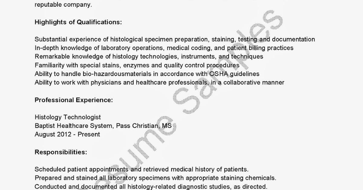 resume samples  histology technologist resume sample