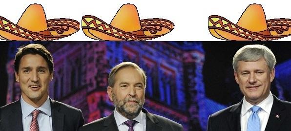 Os Três Cavalheiros: Justin Trudeau, Tom Mulcair, & Stephen Harper.