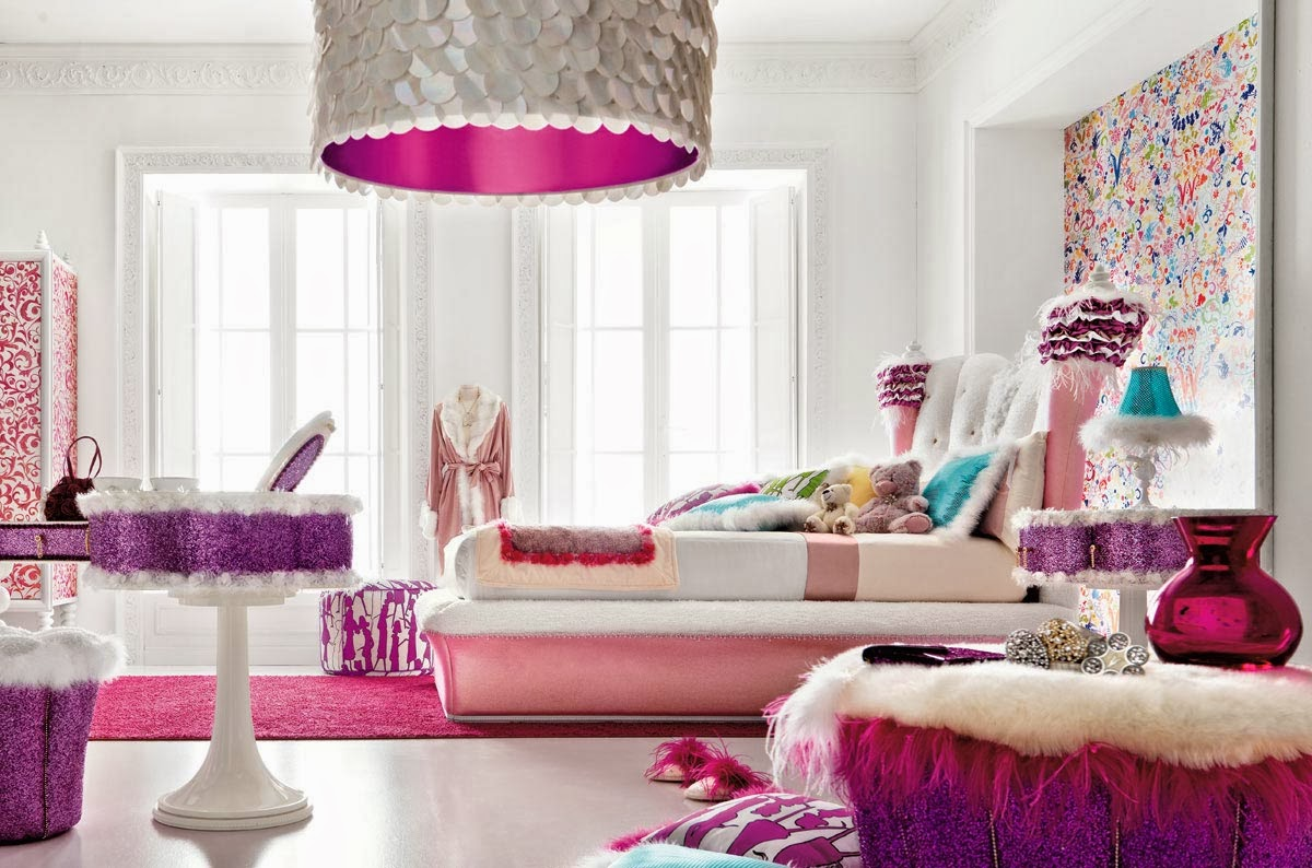 Luxury Fresh Bedroom Interior Design with Cute Pinky
