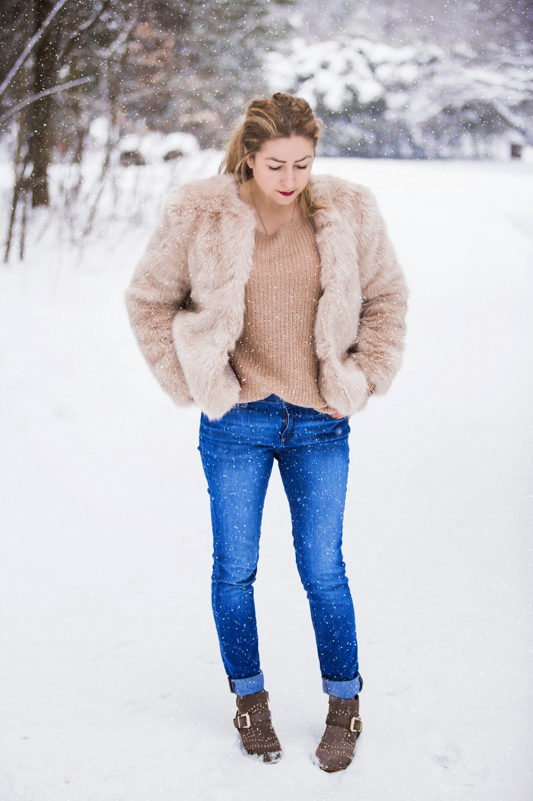 faux fur jacket, Suzanna Studded Suede Ankle Boots