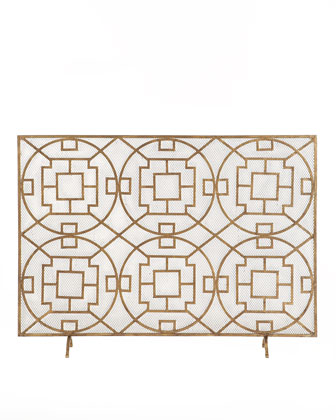golden geometric art deco fireplace screen
