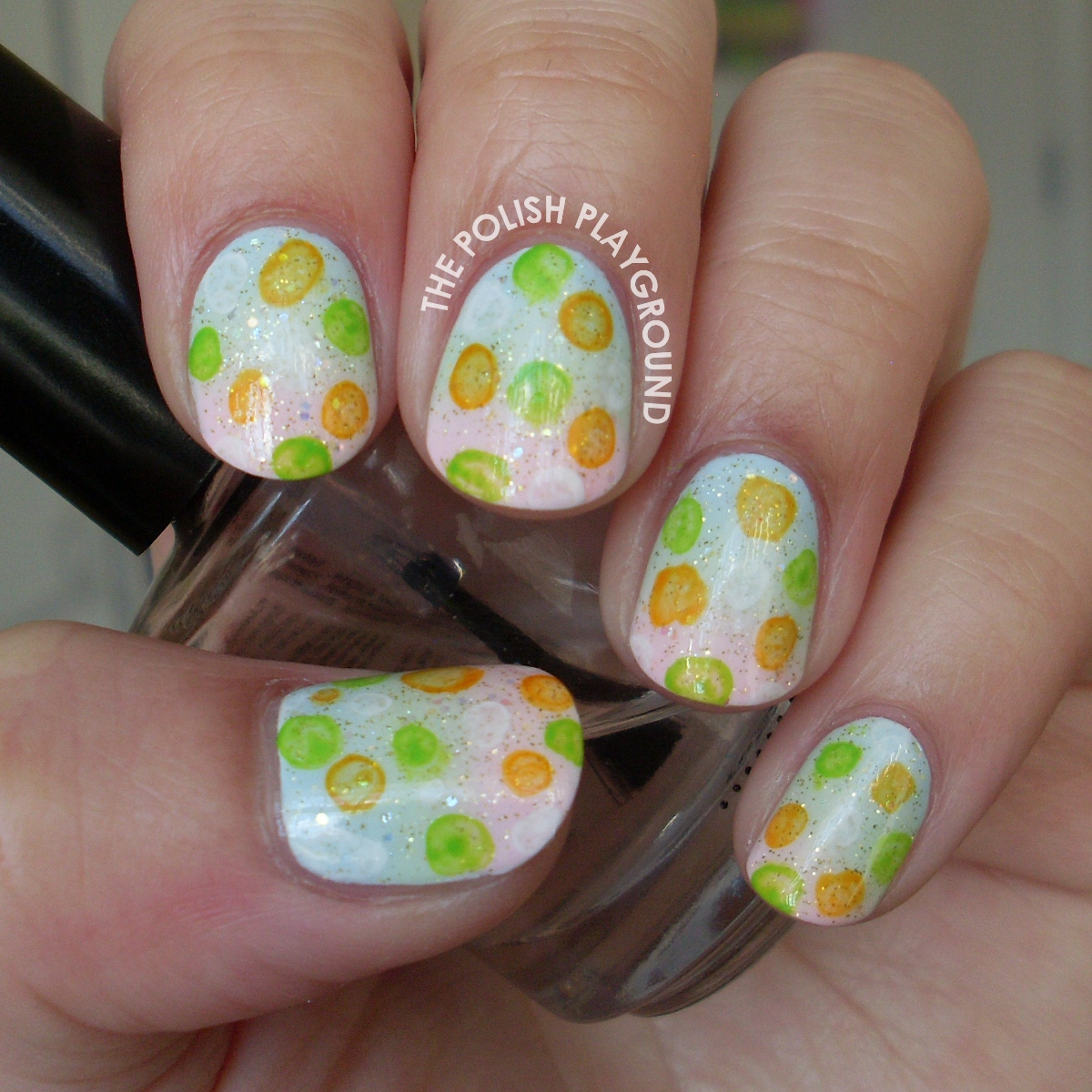 Bubble Print Gradient Nail Art