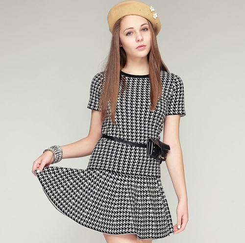 Houndstooth Knit Top and Skirt Set