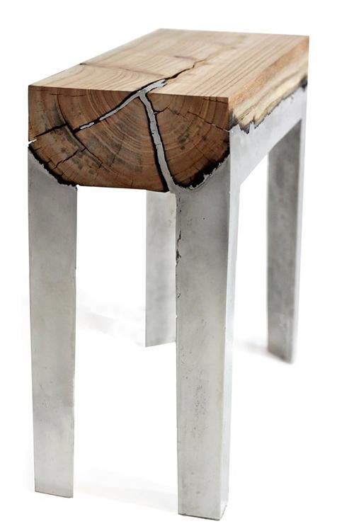 Modern Art Wood Alumunium Pieces