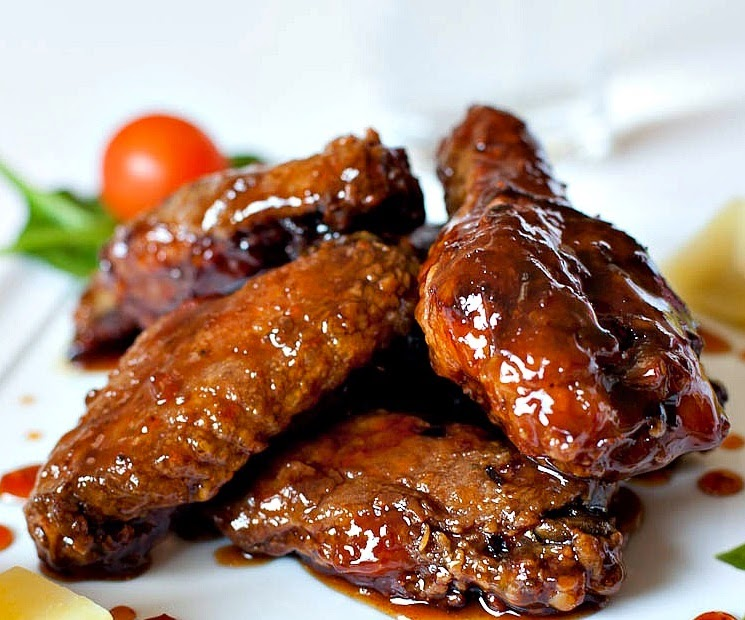 baked orange-glazed chicken wings