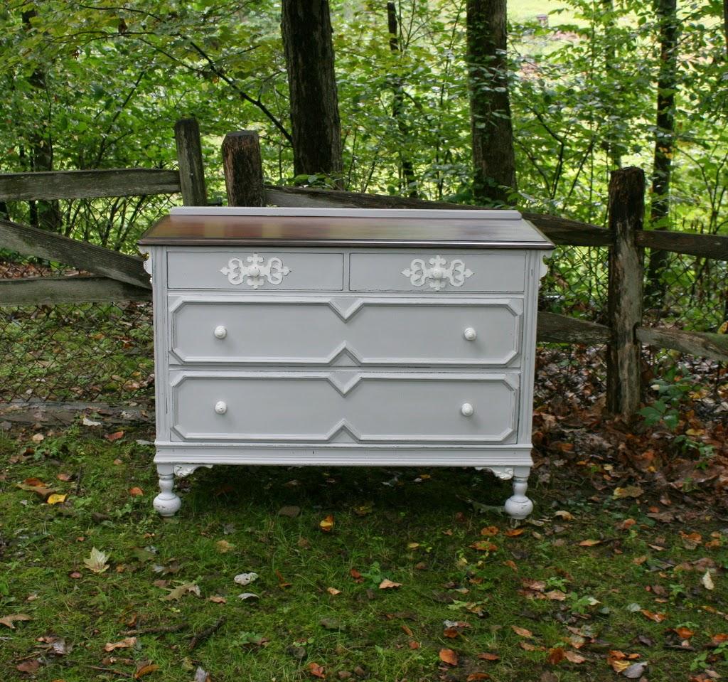 90 Antique Grey U0026 White Dresser