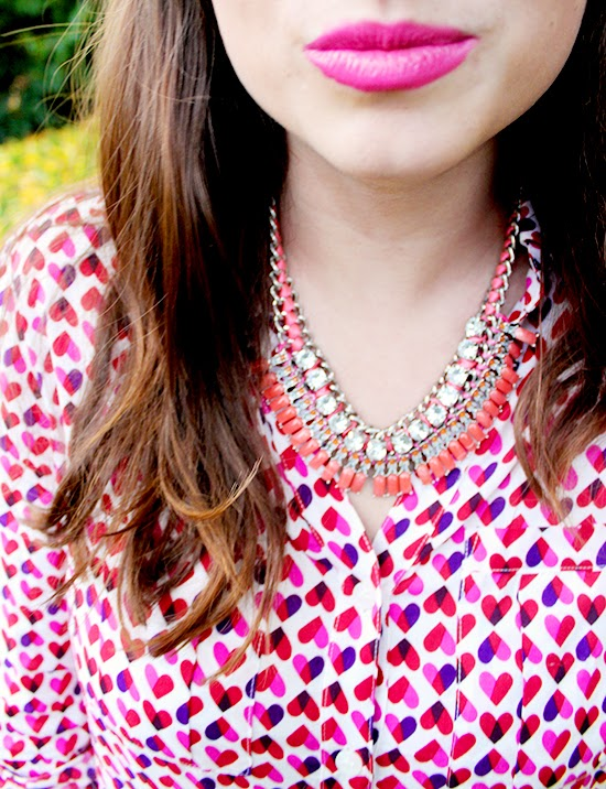 #Qmack Heart Blouse + #MoxieUp Pink Lipstick