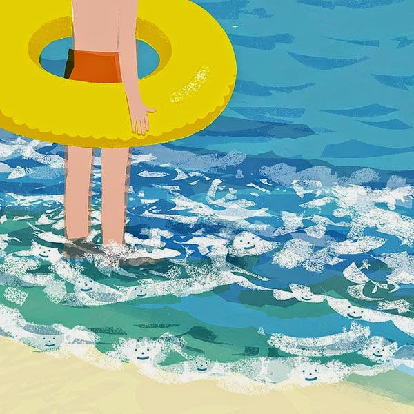 illustration by Tatsuro Kiuchi of a kid wearing a rubber ring at the seaside