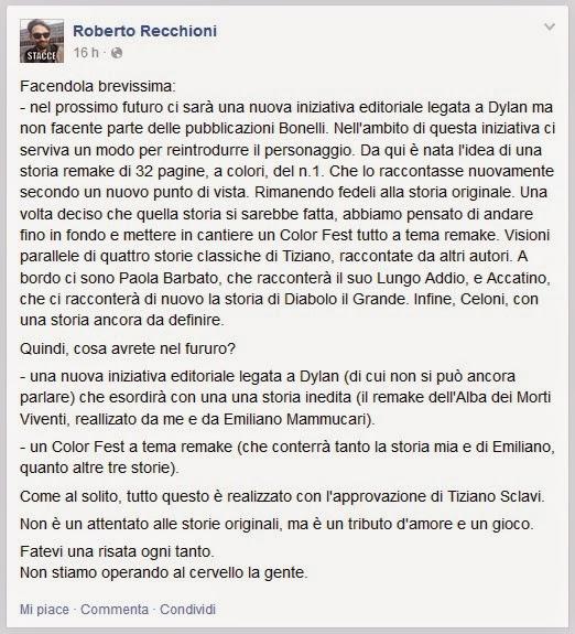 Roberto Recchioni Facebook (21 Marzo 2015)