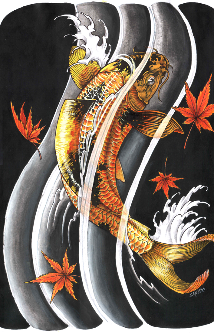 Tattoo gallery koi fish tattoo meaning for Black and gold koi