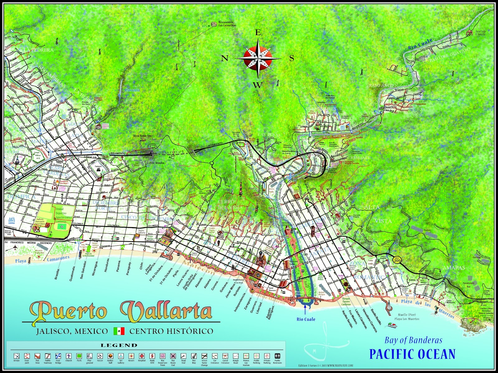 they show more of the central city and mountains than the walking maps andare suitable for framing. mapa jeff cartography puerto vallarta maps
