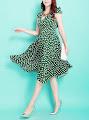 Vintage Short Sleeve Heart Print Green Soft Satin Flare Dress