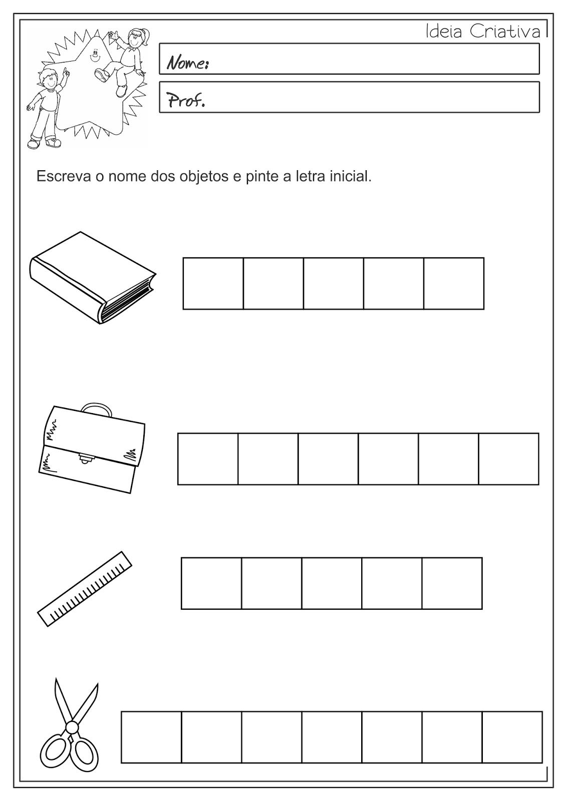 Atividades Educativas Letra Inicial - Ordem Alfabética Língua Portuguesa para Ensino Fundamental