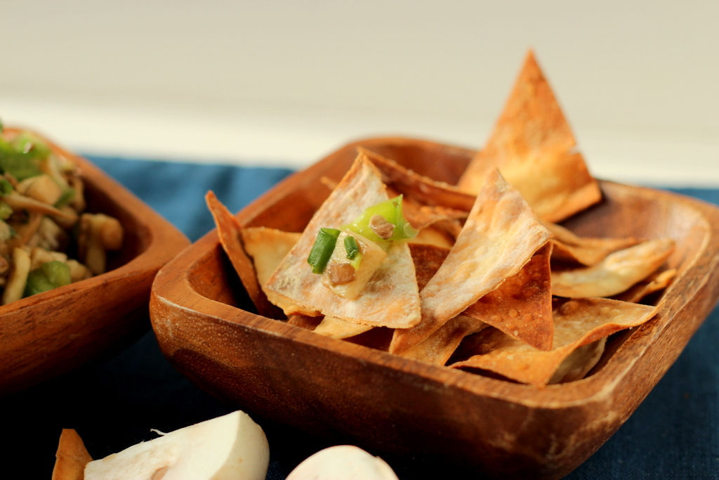 ... Mushroom salsa mingles with Asian-inspired flavors atop crispy wonton