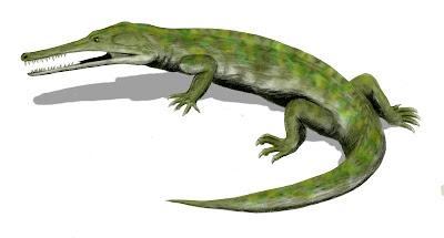 reptiles del cretaceo Champsosaurus