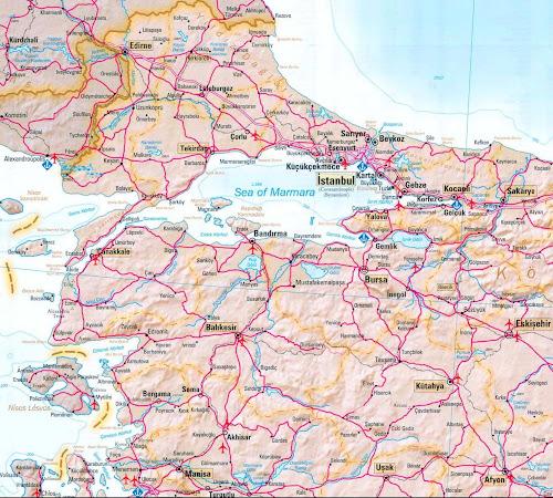 Mapa da região de Istambul