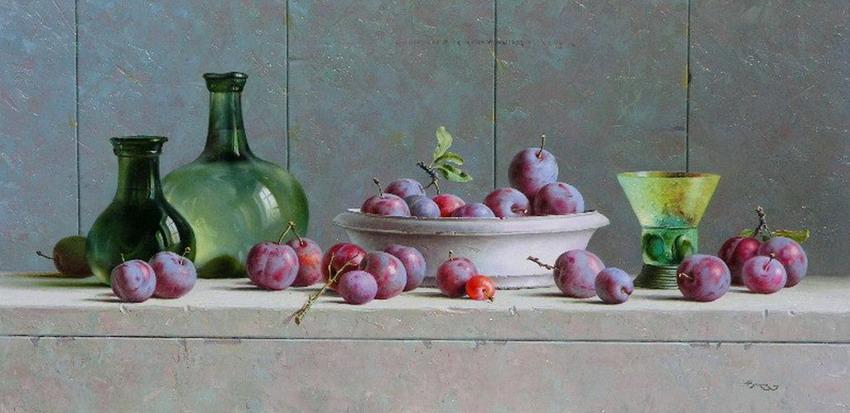 Imágenes Arte Pinturas: Pintura bodegón con uvas óleo
