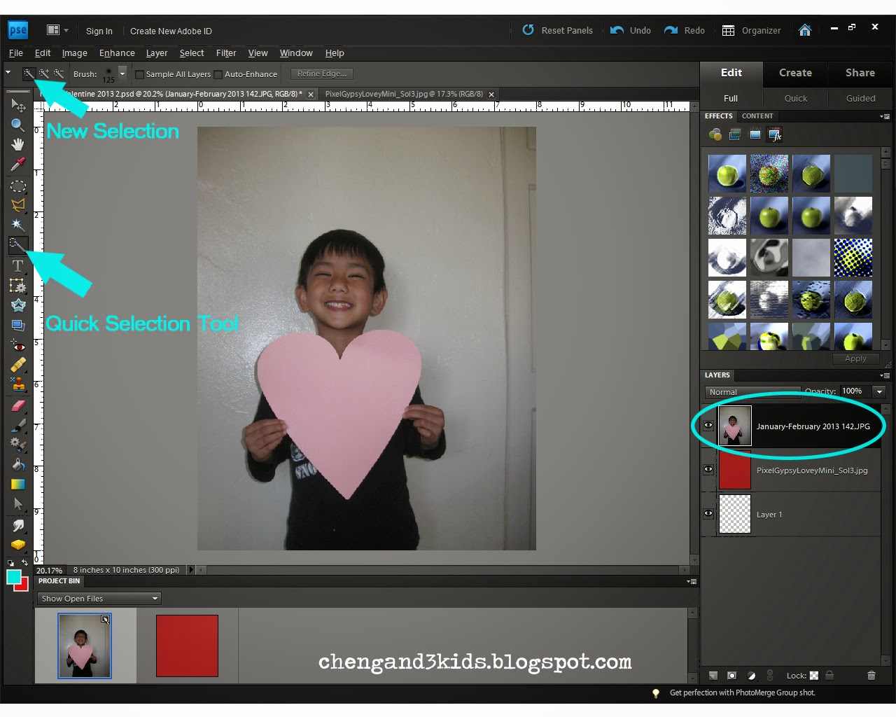 Cheng and 3 Kids : Valentine's Day Idea - Layer Mask tutorial for Adobe Photoshop Elements 9