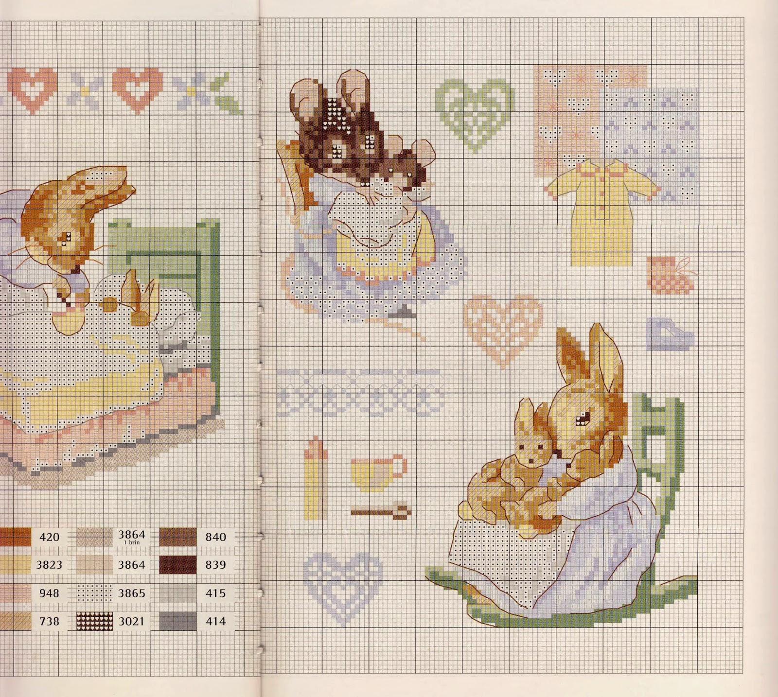 Схемы для вышивки крестом зайцев-кроликов 3