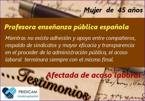Testimonio Mobbing: Los testigos mudos en la enseñanza pública española