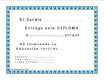 Diploma de egresados para Jardín de Infantes o Nivel Inicial ...