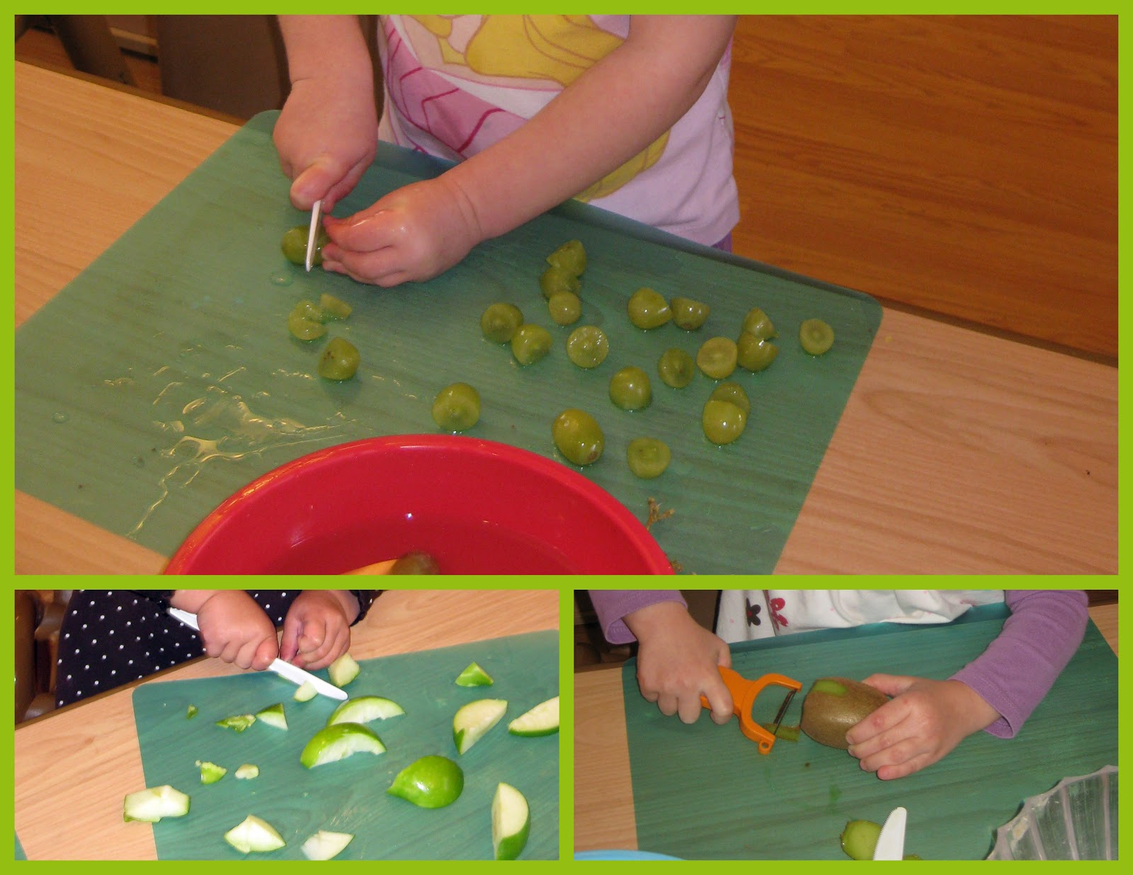 making green salad grapes apples kiwi we peeled and cut the fruit