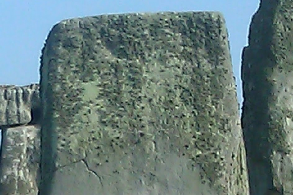 Sarsen carvings on stone of stonehenge